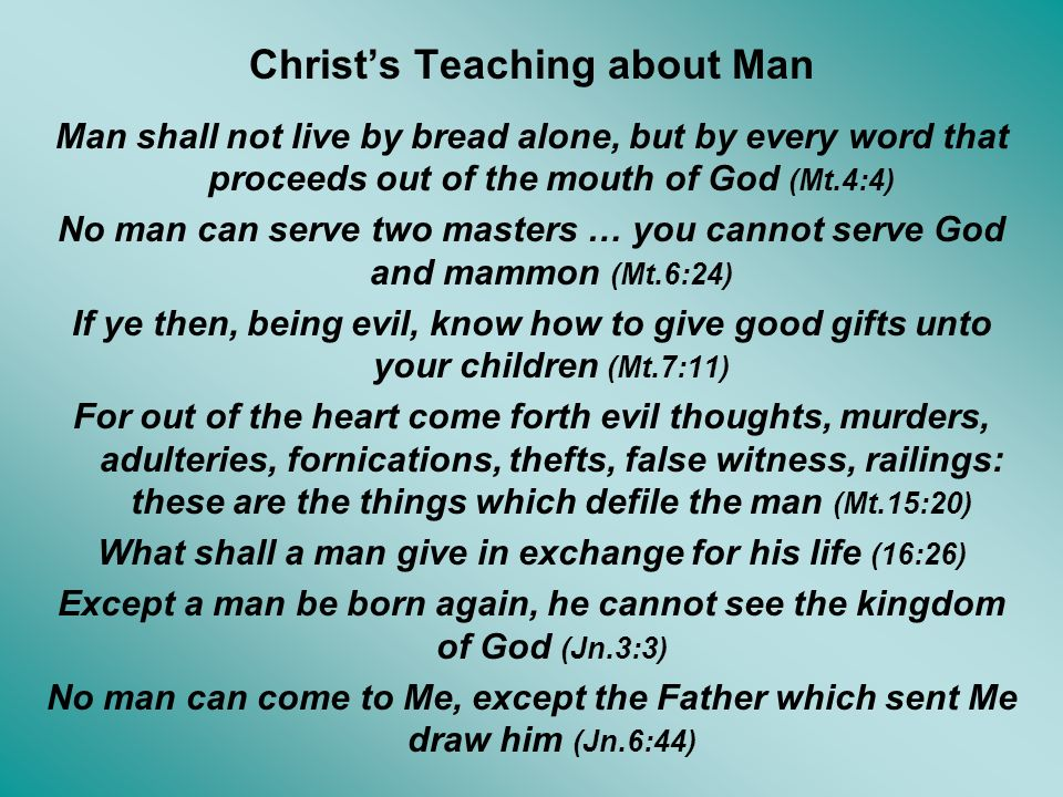Christ's Teaching about Man