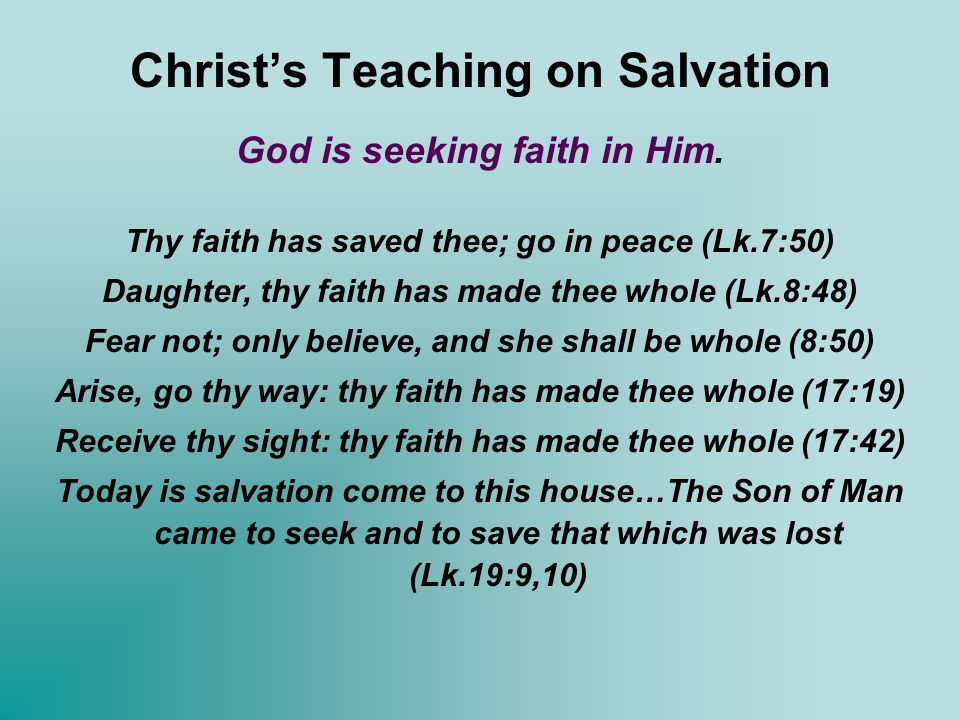 Christ's Teaching on Salvation