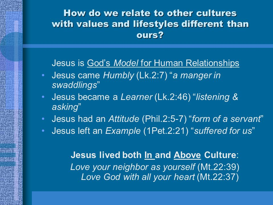 Jesus lived both In and Above Culture: