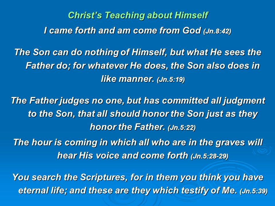 Christ's Teaching about Himself