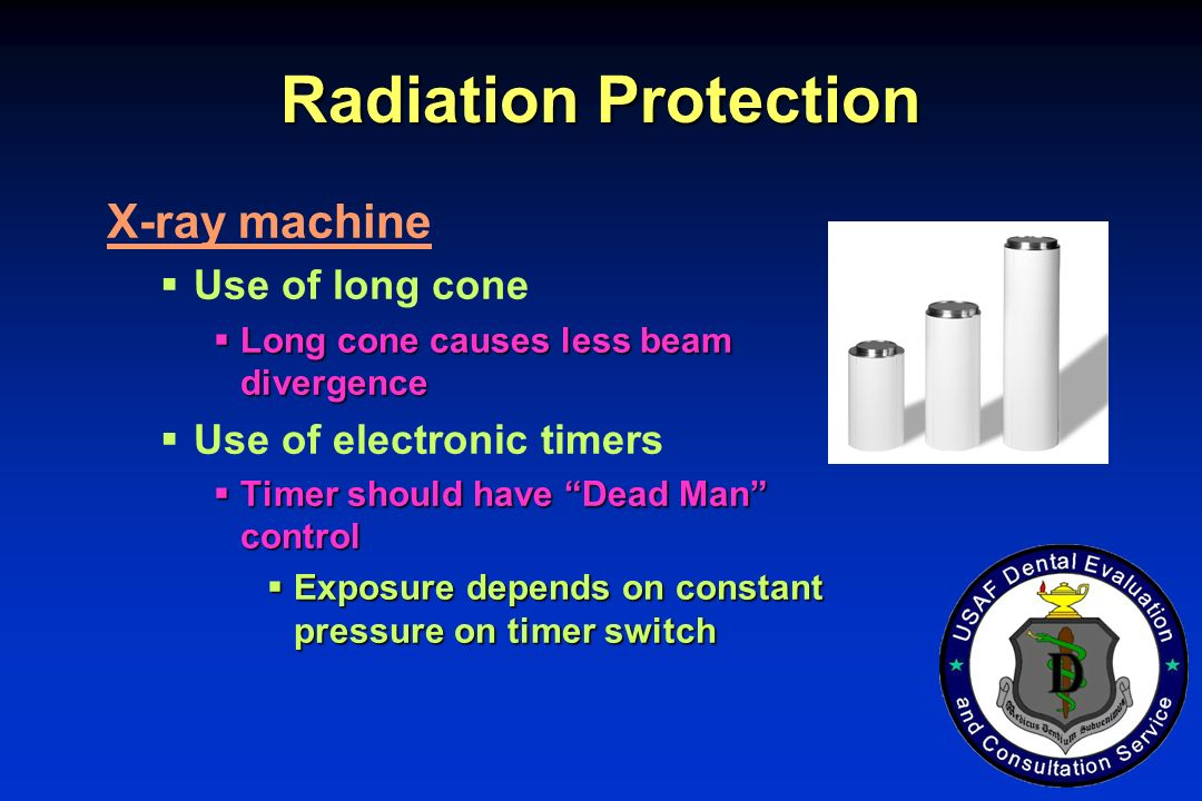 Radiation Protection X-ray machine Use of long cone