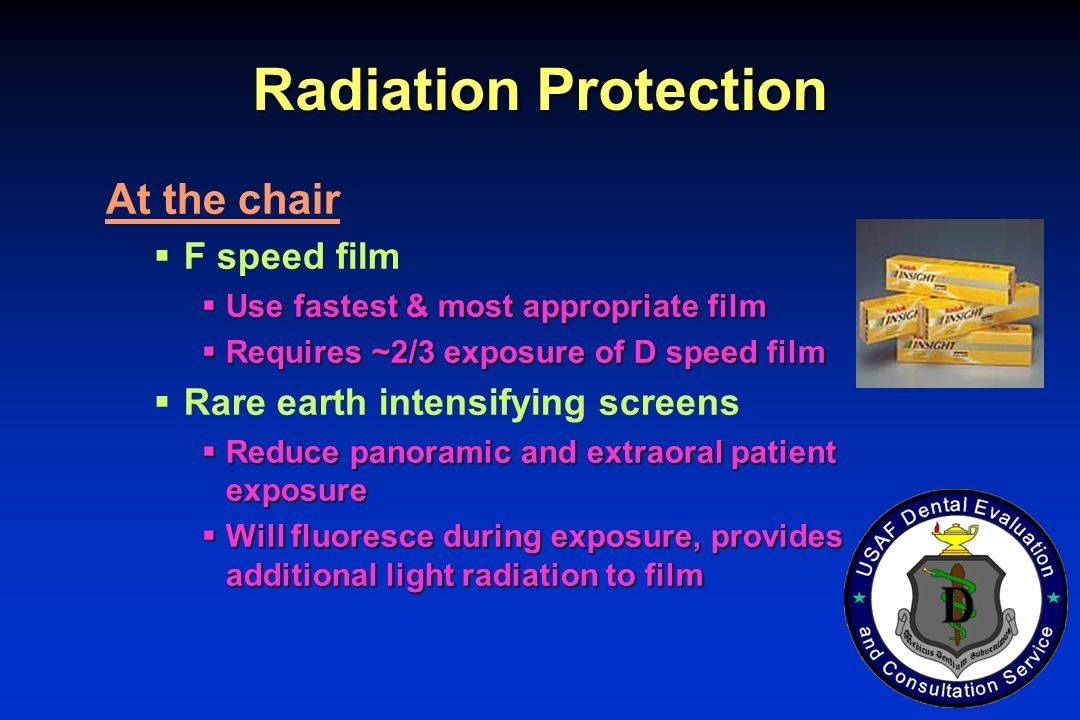 Radiation Protection At the chair F speed film
