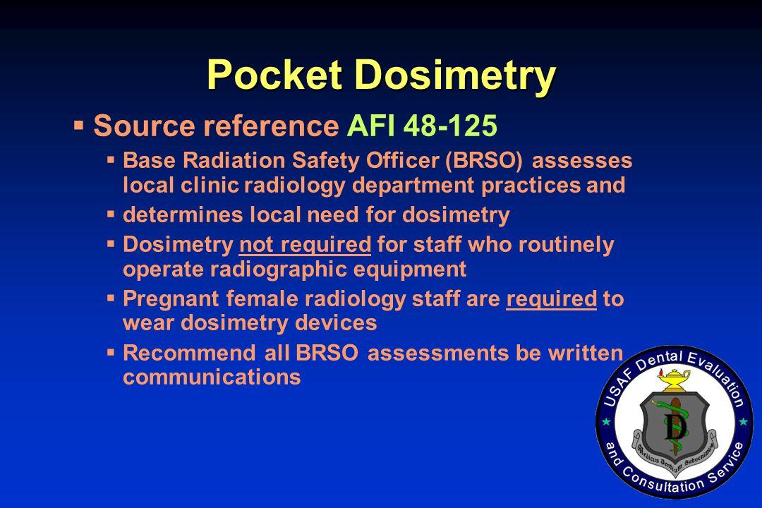 Pocket Dosimetry Source reference AFI 48-125
