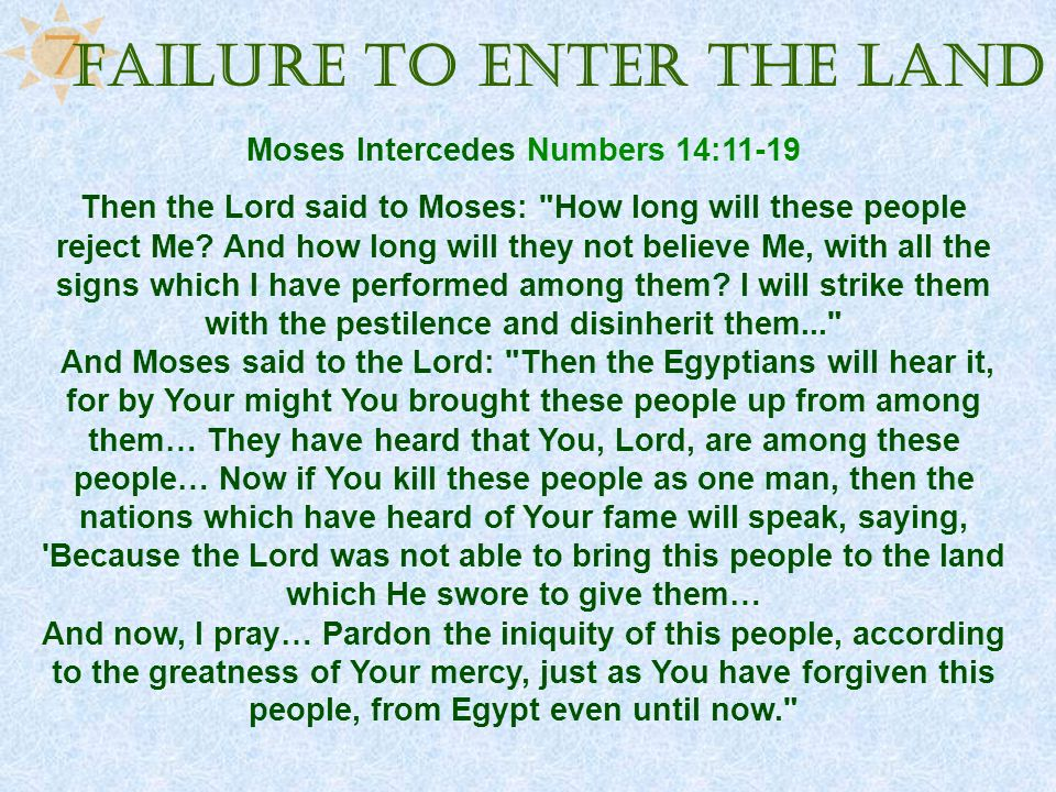 Failure to Enter the Land Moses Intercedes Numbers 14:11-19