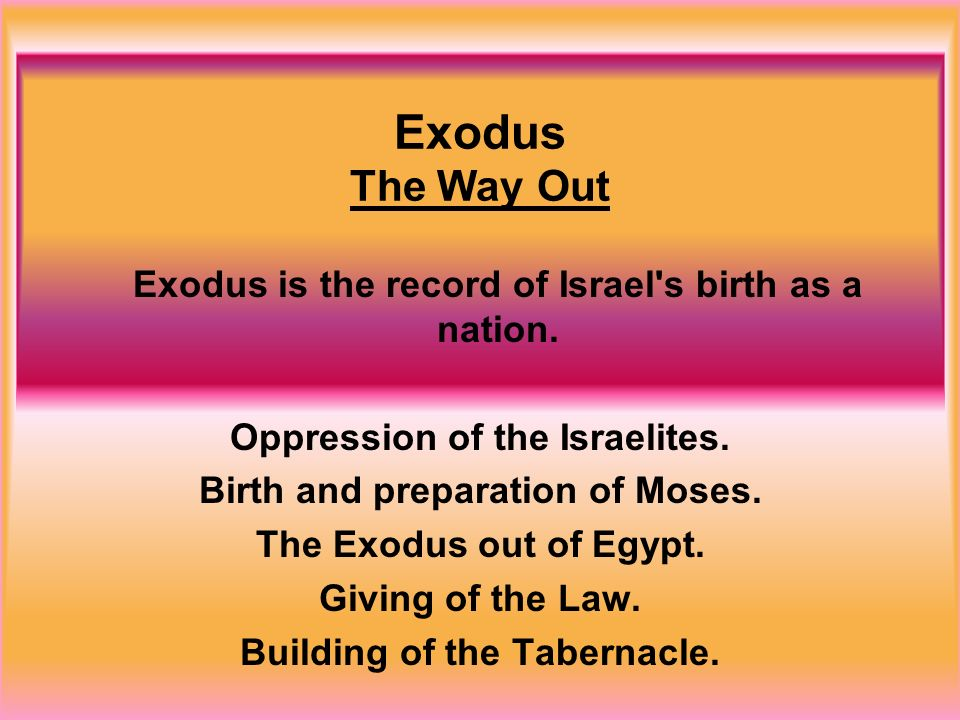 Exodus The Way Out Exodus is the record of Israel s birth as a nation.