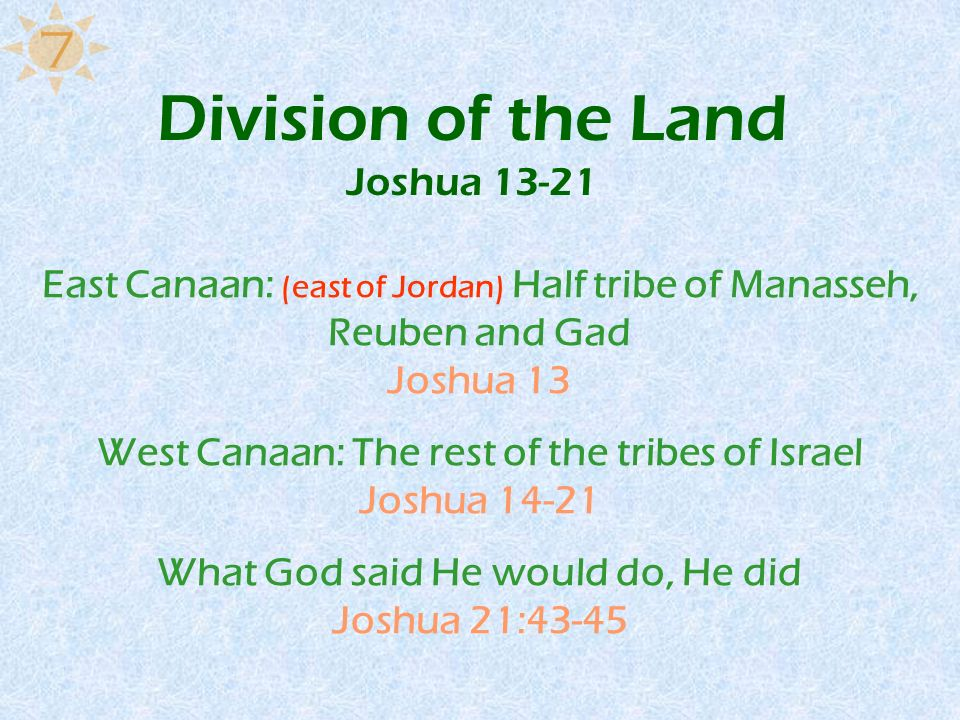 Division of the Land Joshua 13-21