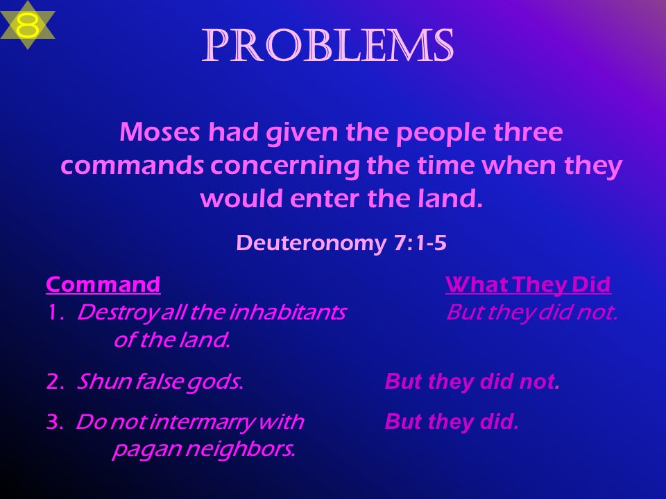 8 Problems. Moses had given the people three commands concerning the time when they would enter the land.