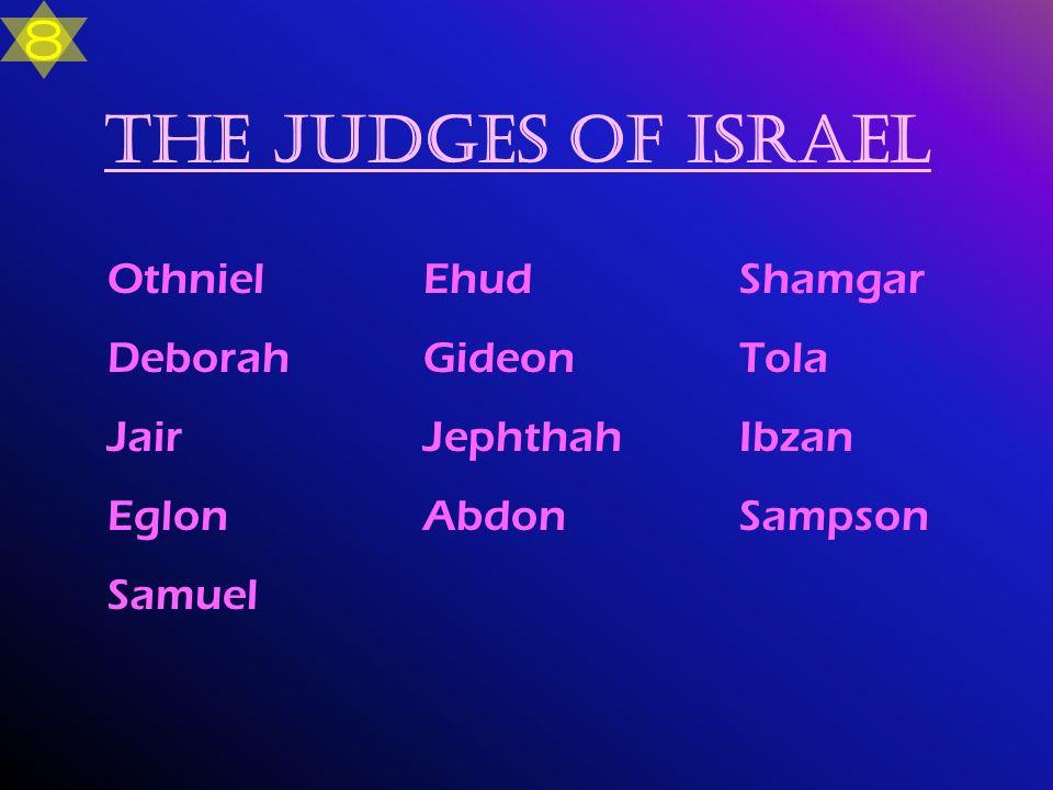 The Judges of Israel 8 Othniel Ehud Shamgar Deborah Gideon Tola