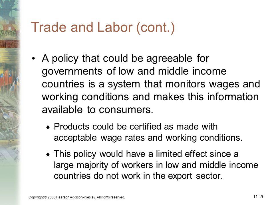Trade and Labor (cont.)