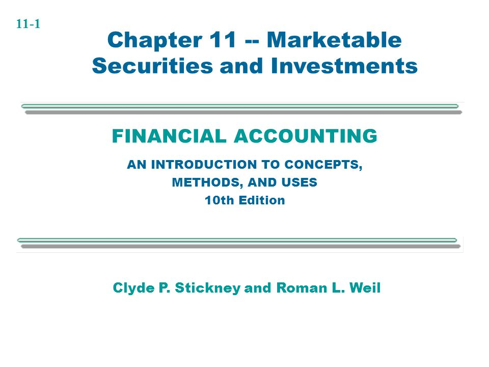Chapter 11 -- Marketable Securities and Investments