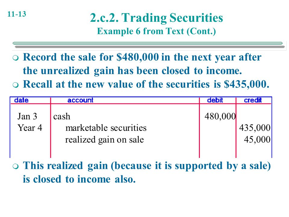 2.c.2. Trading Securities Example 6 from Text (Cont.)
