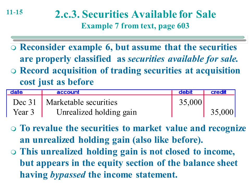 2.c.3. Securities Available for Sale Example 7 from text, page 603