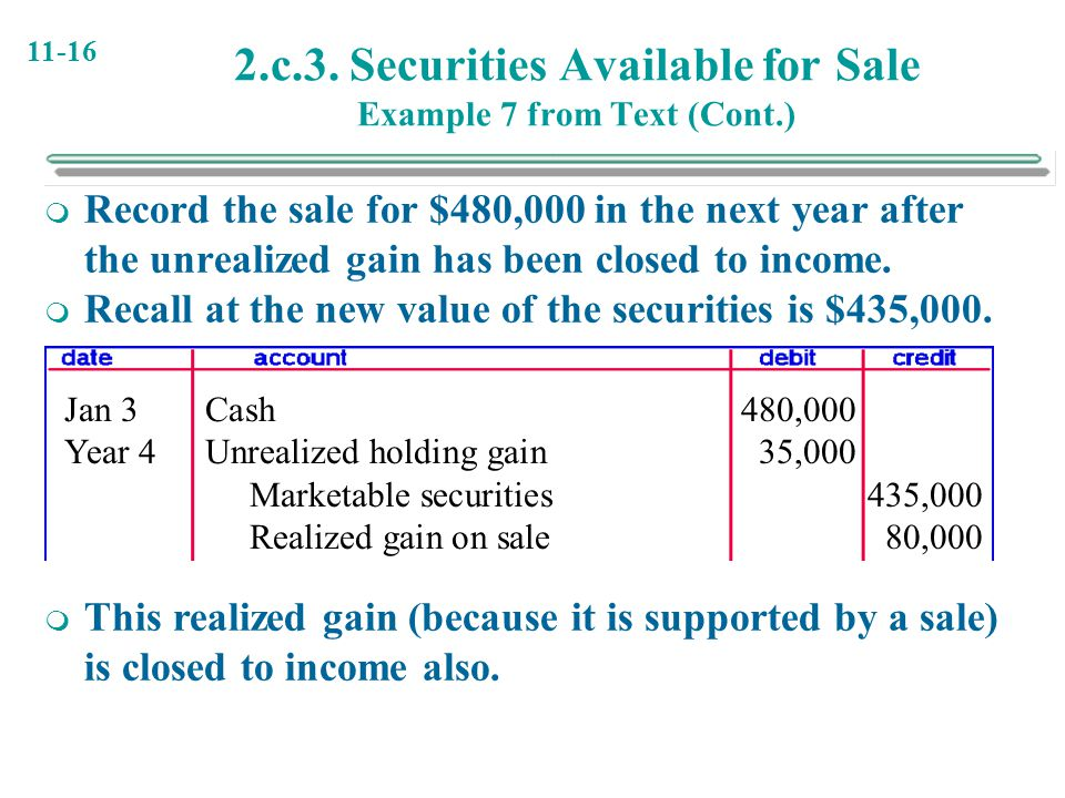 2.c.3. Securities Available for Sale Example 7 from Text (Cont.)