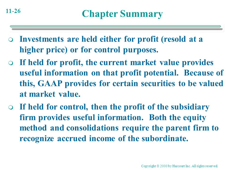 Chapter Summary Investments are held either for profit (resold at a higher price) or for control purposes.