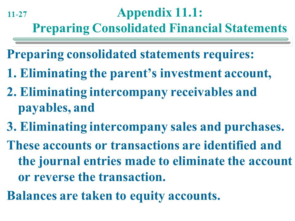 Appendix 11.1: Preparing Consolidated Financial Statements