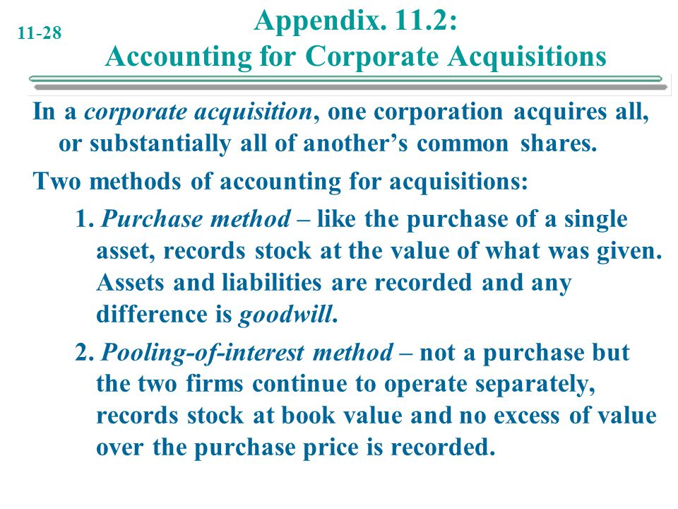 Appendix. 11.2: Accounting for Corporate Acquisitions