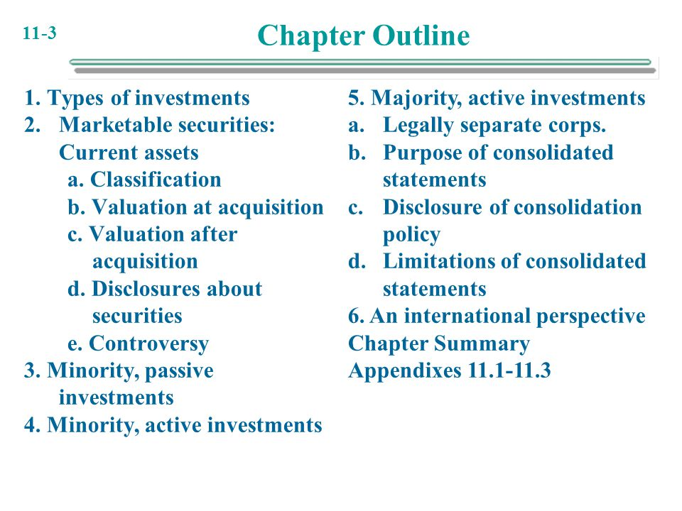 Chapter Outline 1. Types of investments