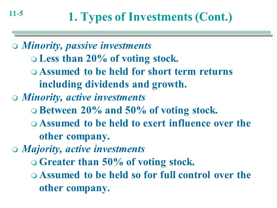 1. Types of Investments (Cont.)