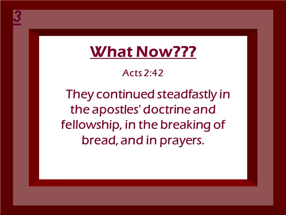3 What Now . Acts 2:42.
