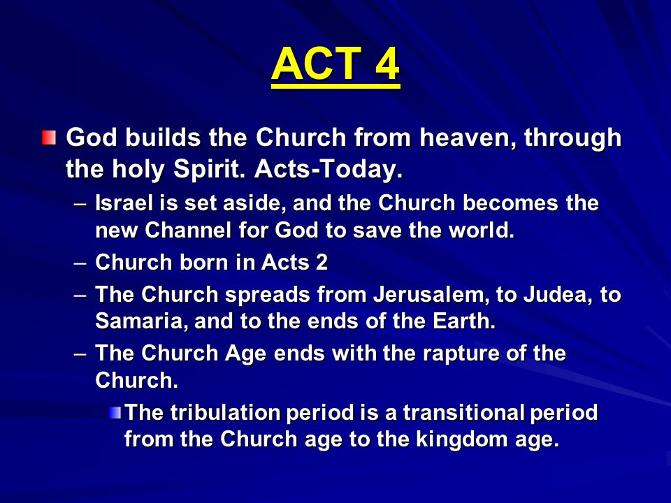 ACT 4 God builds the Church from heaven, through the holy Spirit. Acts-Today.