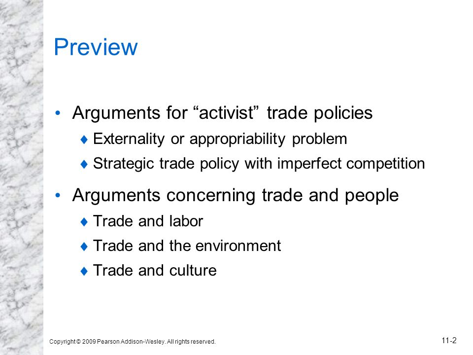 Preview Arguments for activist trade policies