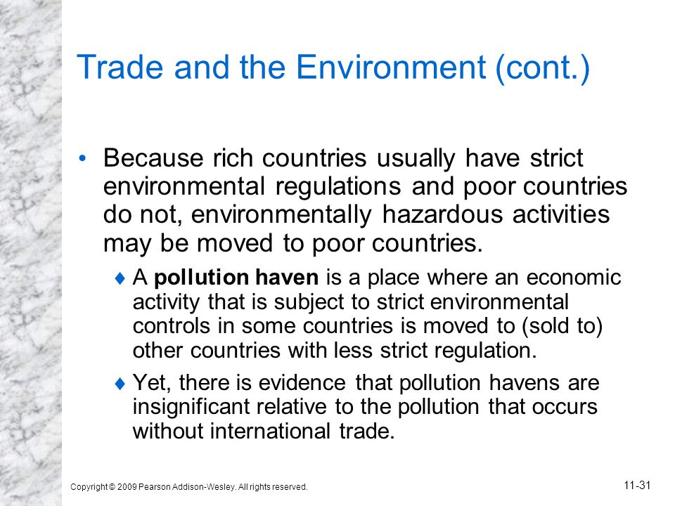 Trade and the Environment (cont.)