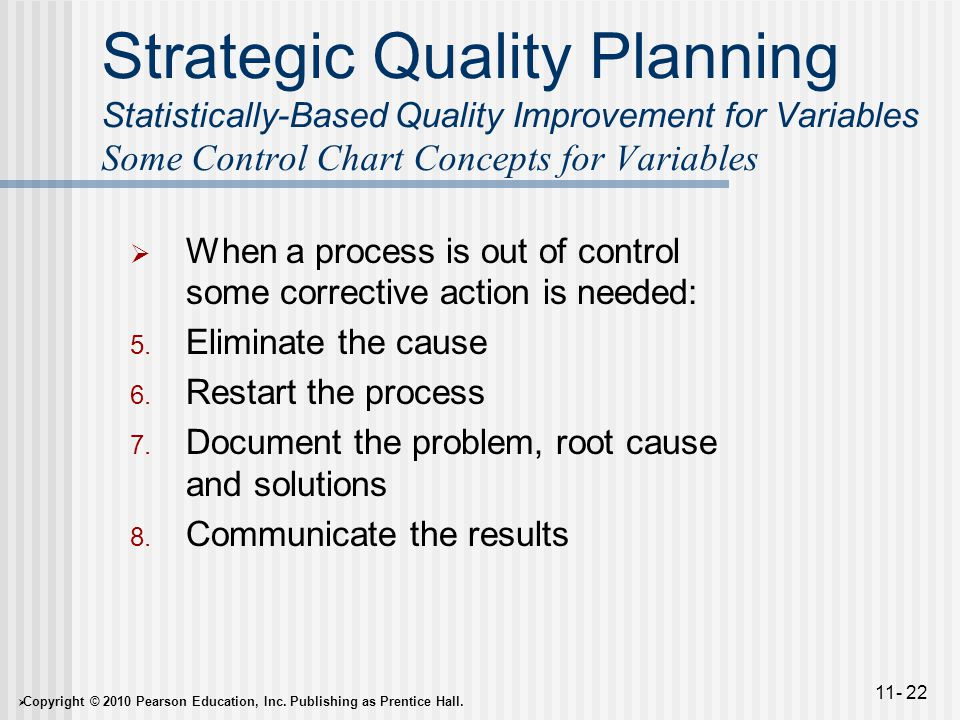 Strategic Quality Planning Statistically-Based Quality Improvement for Variables Some Control Chart Concepts for Variables