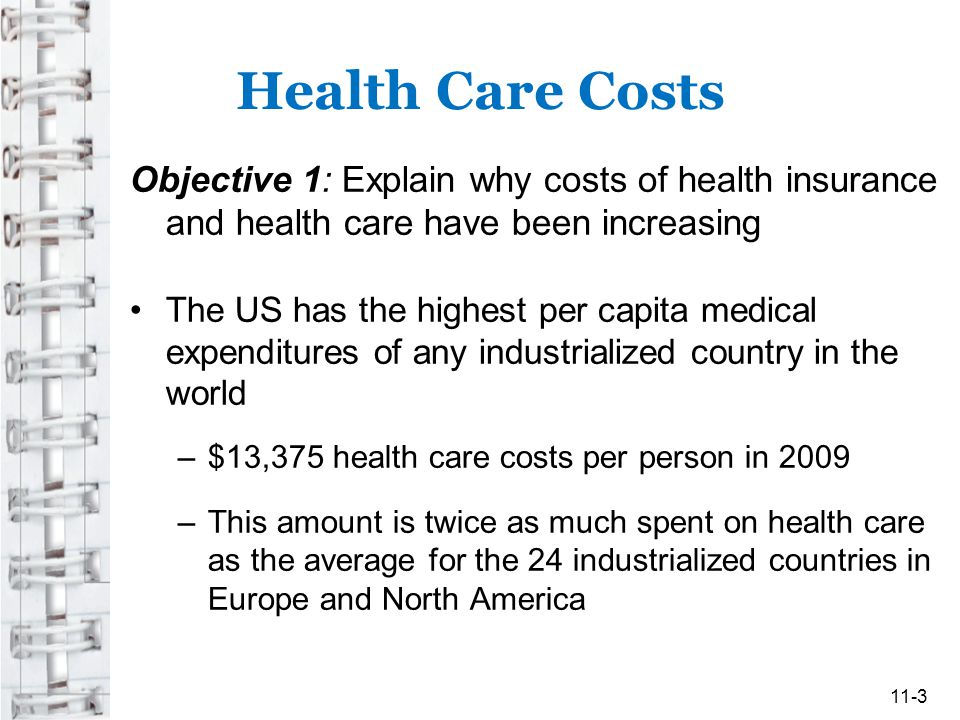 Health Care Costs Objective 1: Explain why costs of health insurance and health care have been increasing.