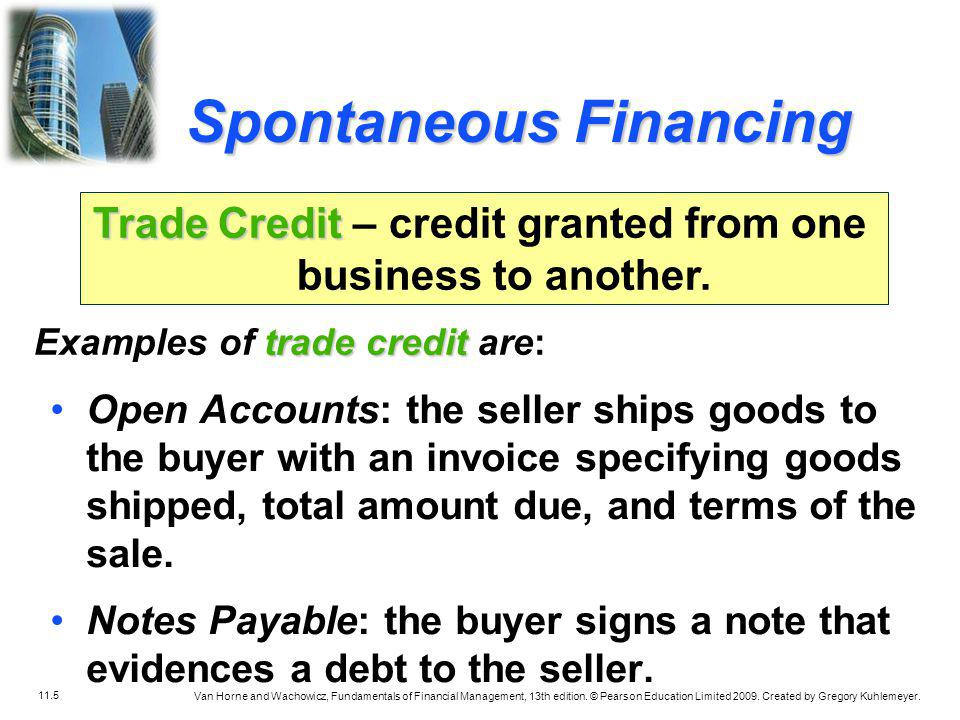 Trade Credit – credit granted from one business to another.