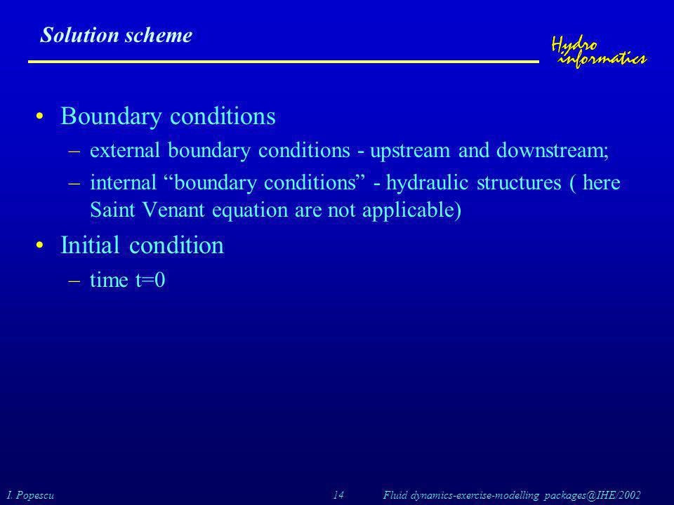 Boundary conditions Initial condition Solution scheme