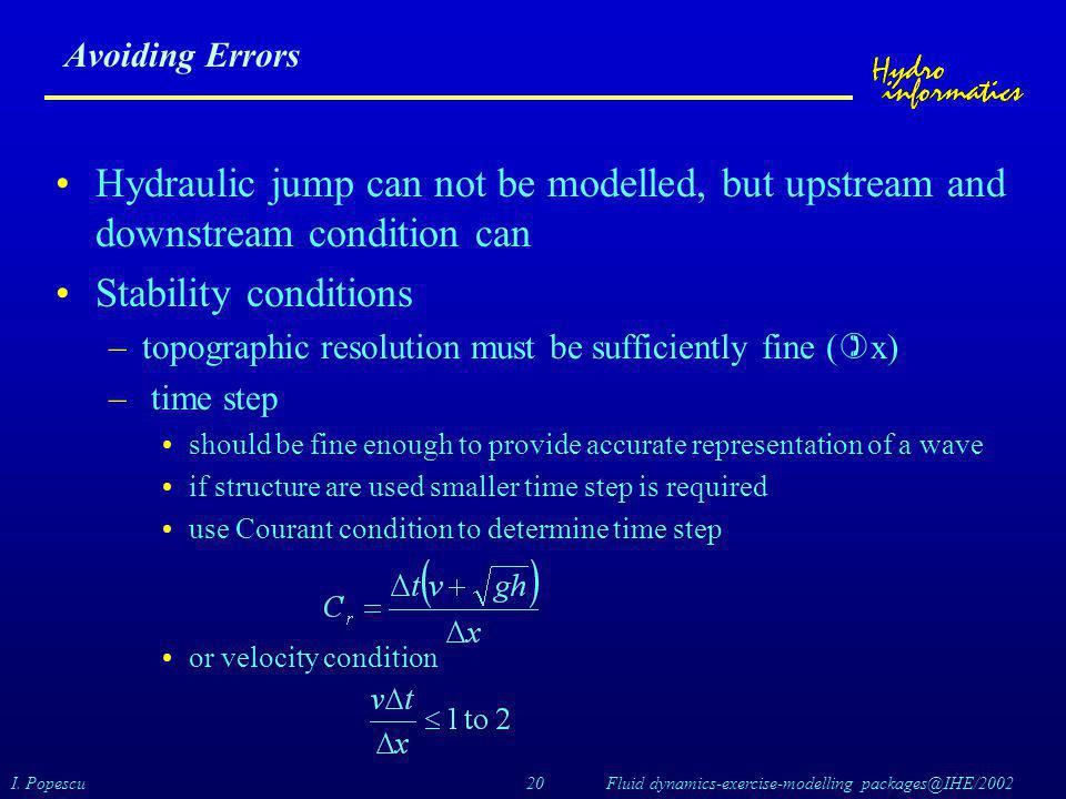 Avoiding Errors Hydraulic jump can not be modelled, but upstream and downstream condition can. Stability conditions.