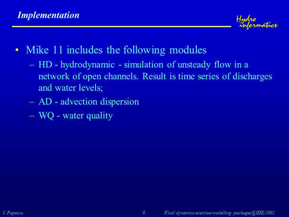 Mike 11 includes the following modules