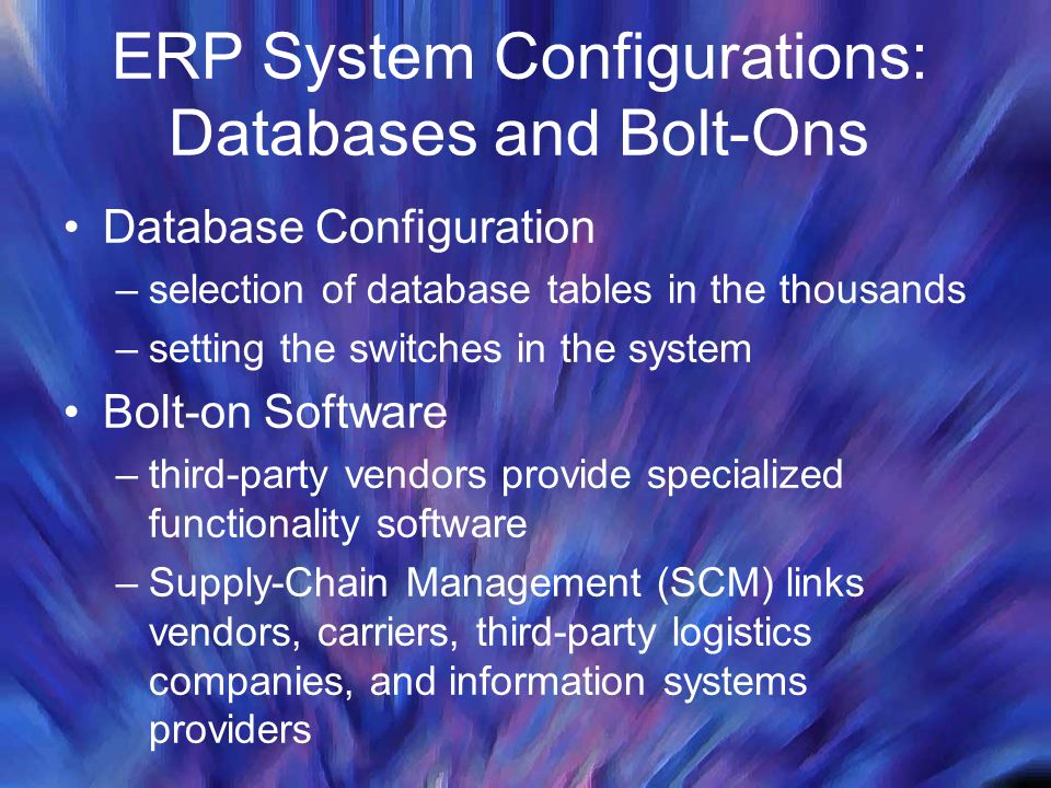 ERP System Configurations: Databases and Bolt-Ons