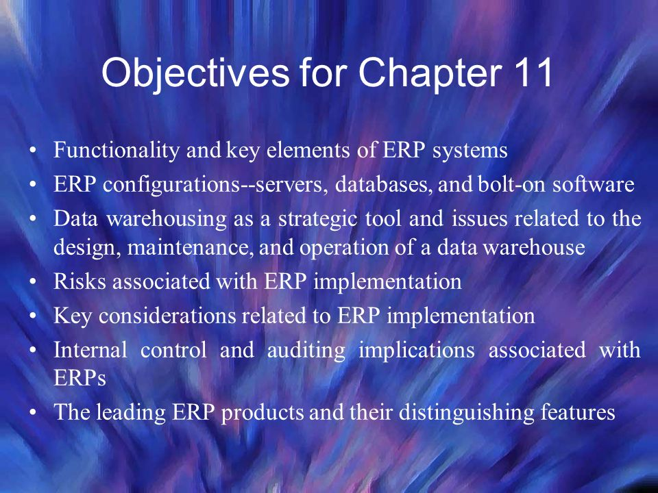 Objectives for Chapter 11