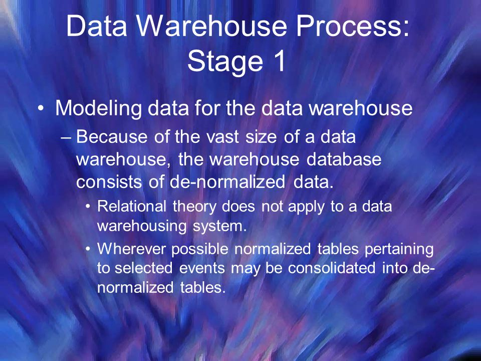 Data Warehouse Process: Stage 1