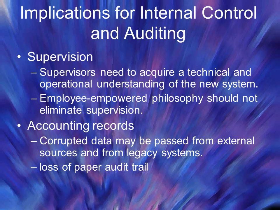 Implications for Internal Control and Auditing