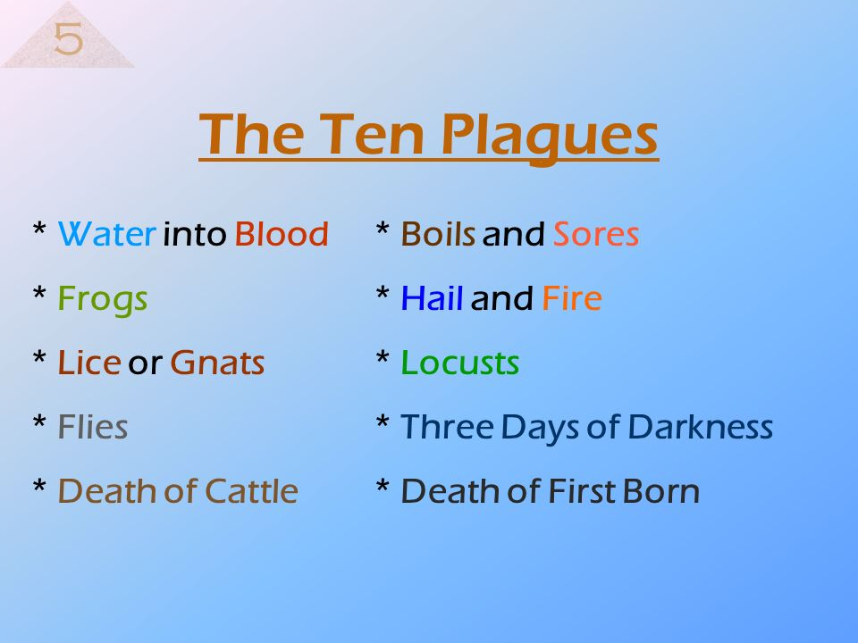 The Ten Plagues 5 * Water into Blood * Boils and Sores