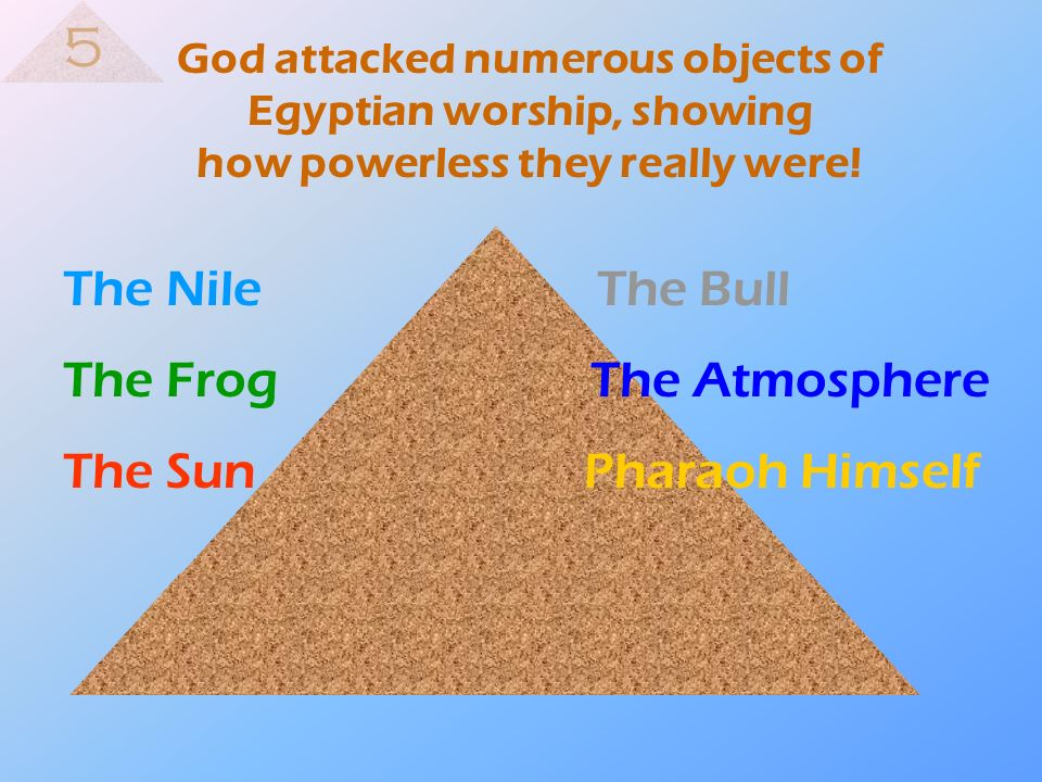 5 The Nile The Bull The Frog The Atmosphere The Sun Pharaoh Himself