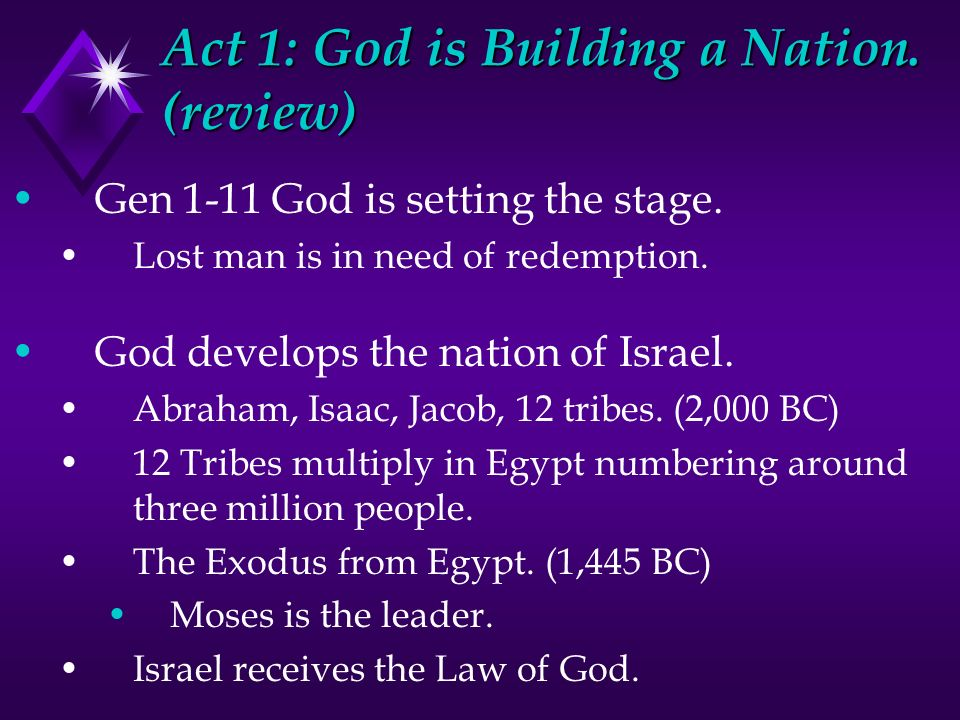 Act 1: God is Building a Nation. (review)