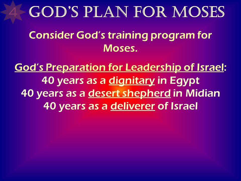 Consider God's training program for Moses.