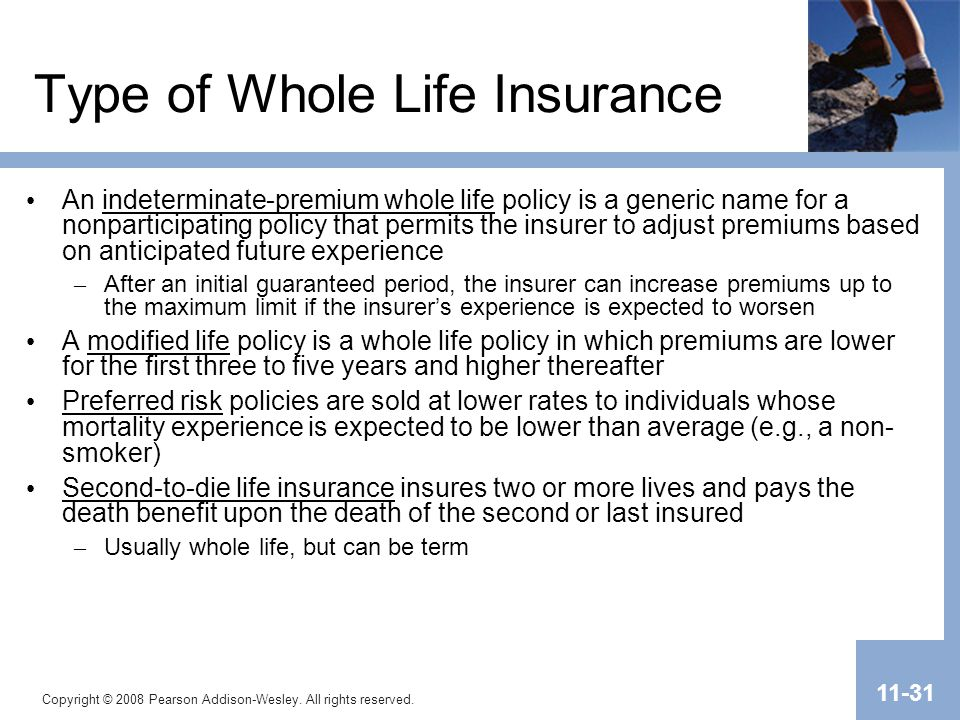 Type of Whole Life Insurance