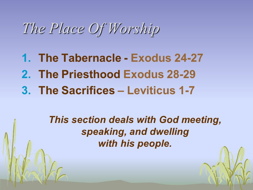 The Place Of Worship The Tabernacle - Exodus 24-27