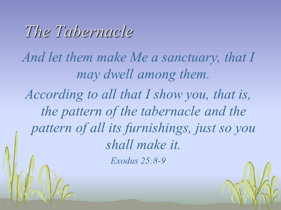 And let them make Me a sanctuary, that I may dwell among them.