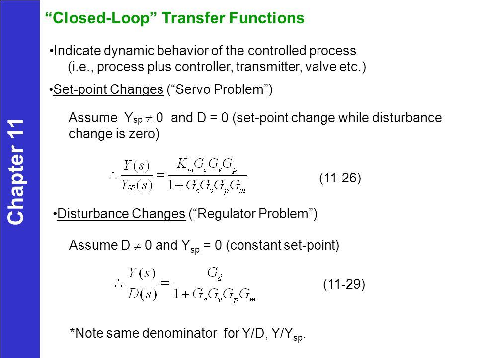 Chapter 11 Closed-Loop Transfer Functions