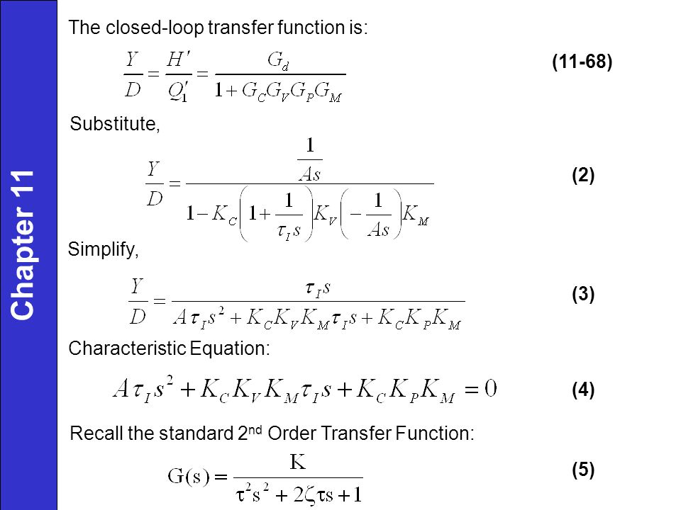 Chapter 11 The closed-loop transfer function is: (11-68) Substitute,