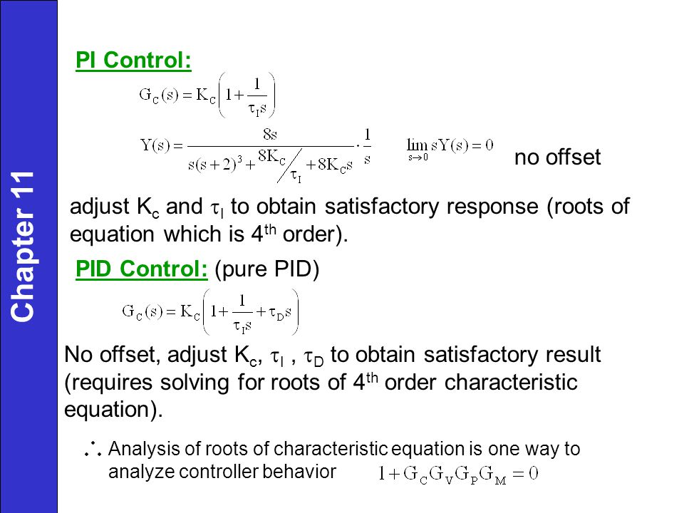 Chapter 11 PI Control: no offset