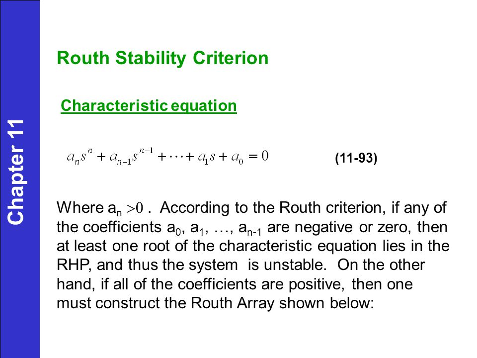 Chapter 11 Routh Stability Criterion Characteristic equation