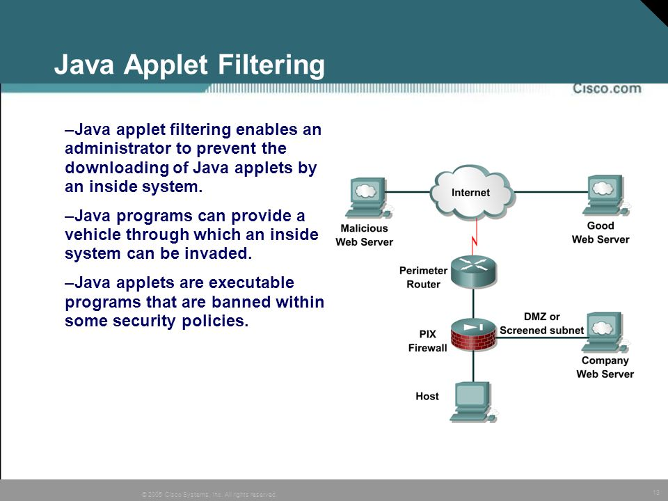 Java Applet FilteringJava applet filtering enables an administrator to prevent the downloading of Java applets by an inside system.