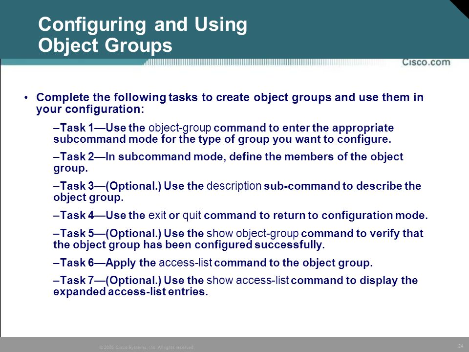 Configuring and Using Object Groups