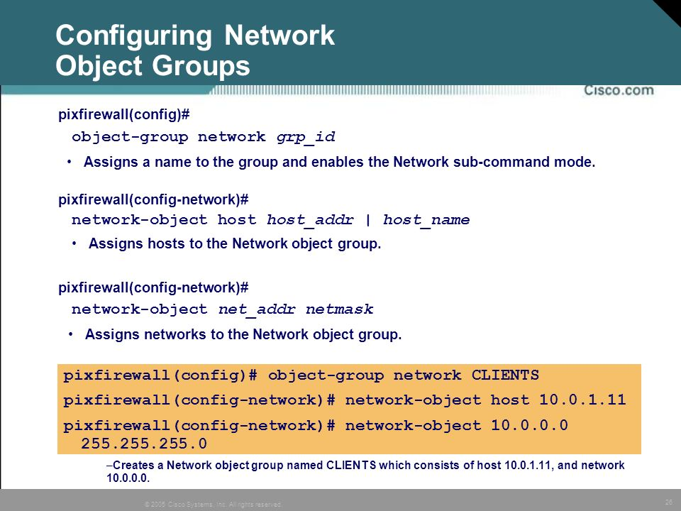 Configuring Network Object Groups